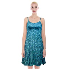 Turquoise Blue Ocean Spaghetti Strap Velvet Dress by retrotoomoderndesigns