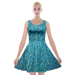 Turquoise Blue Ocean Velvet Skater Dress