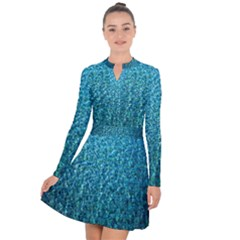 Turquoise Blue Ocean Long Sleeve Panel Dress