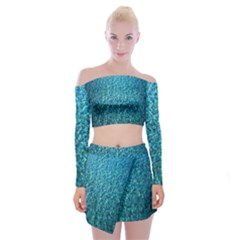 Turquoise Blue Ocean Off Shoulder Top with Mini Skirt Set