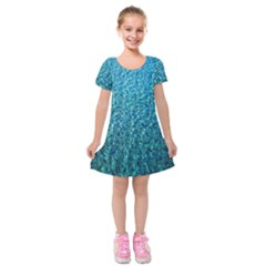 Turquoise Blue Ocean Kids  Short Sleeve Velvet Dress