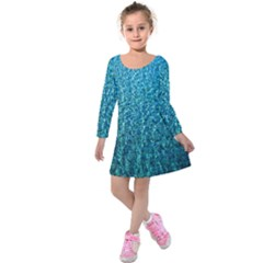 Turquoise Blue Ocean Kids  Long Sleeve Velvet Dress