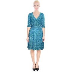 Turquoise Blue Ocean Wrap Up Cocktail Dress