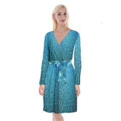 Turquoise Blue Ocean Long Sleeve Velvet Front Wrap Dress