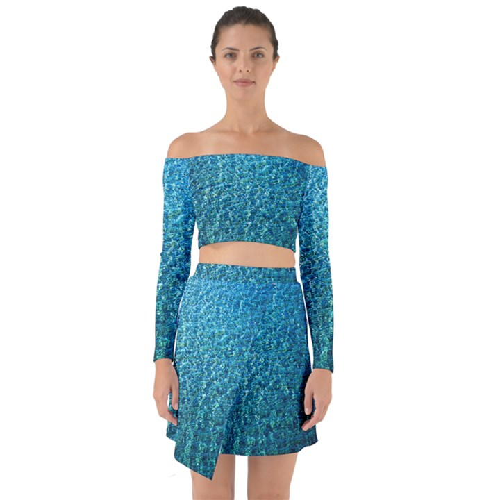 Turquoise Blue Ocean Off Shoulder Top with Skirt Set