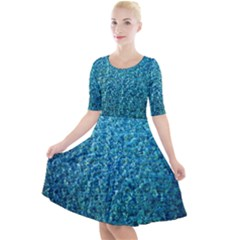 Turquoise Blue Ocean Quarter Sleeve A-Line Dress