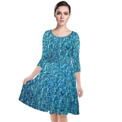 Turquoise Blue Ocean Quarter Sleeve Waist Band Dress