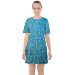 Turquoise Blue Ocean Sixties Short Sleeve Mini Dress