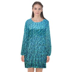 Turquoise Blue Ocean Long Sleeve Chiffon Shift Dress