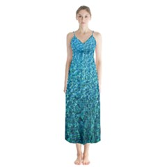 Turquoise Blue Ocean Button Up Chiffon Maxi Dress