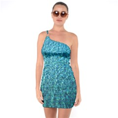 Turquoise Blue Ocean One Soulder Bodycon Dress