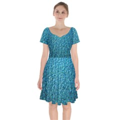Turquoise Blue Ocean Short Sleeve Bardot Dress