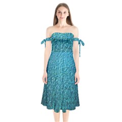 Turquoise Blue Ocean Shoulder Tie Bardot Midi Dress