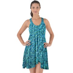 Turquoise Blue Ocean Show Some Back Chiffon Dress