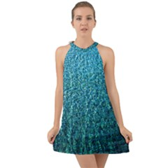 Turquoise Blue Ocean Halter Tie Back Chiffon Dress