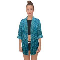 Turquoise Blue Ocean Open Front Chiffon Kimono by retrotoomoderndesigns