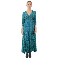 Turquoise Blue Ocean Button Up Boho Maxi Dress
