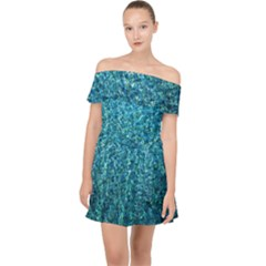 Turquoise Blue Ocean Off Shoulder Chiffon Dress