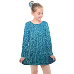 Turquoise Blue Ocean Kids  Long Sleeve Dress