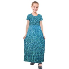 Turquoise Blue Ocean Kids  Short Sleeve Maxi Dress