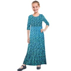 Turquoise Blue Ocean Kids  Quarter Sleeve Maxi Dress