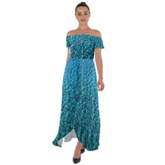 Turquoise Blue Ocean Off Shoulder Open Front Chiffon Dress