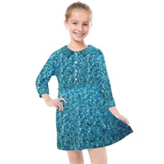 Turquoise Blue Ocean Kids  Quarter Sleeve Shirt Dress