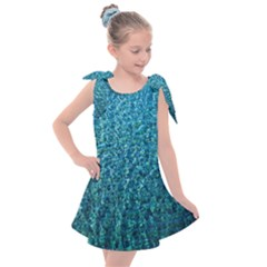 Turquoise Blue Ocean Kids  Tie Up Tunic Dress