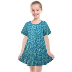 Turquoise Blue Ocean Kids  Smock Dress