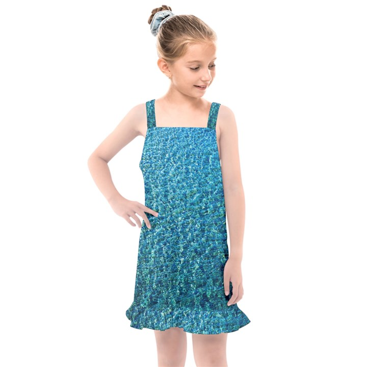 Turquoise Blue Ocean Kids  Overall Dress