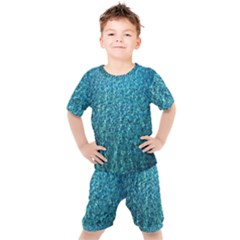 Turquoise Blue Ocean Kids  Tee and Shorts Set
