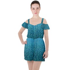 Turquoise Blue Ocean Ruffle Cut Out Chiffon Playsuit