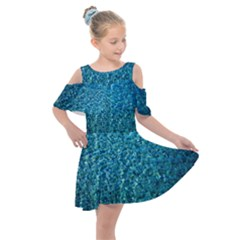 Turquoise Blue Ocean Kids  Shoulder Cutout Chiffon Dress