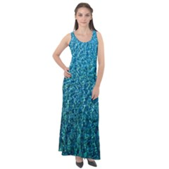 Turquoise Blue Ocean Sleeveless Velour Maxi Dress