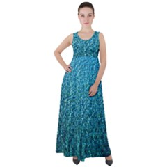 Turquoise Blue Ocean Empire Waist Velour Maxi Dress