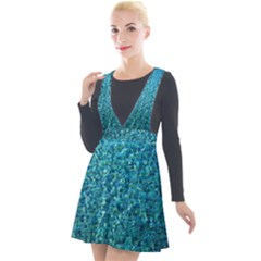 Turquoise Blue Ocean Plunge Pinafore Velour Dress