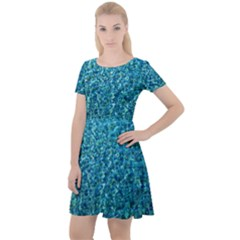 Turquoise Blue Ocean Cap Sleeve Velour Dress