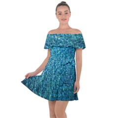 Turquoise Blue Ocean Off Shoulder Velour Dress