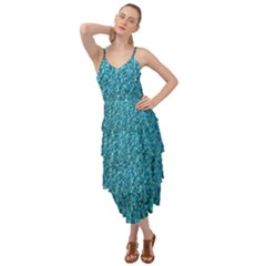 Turquoise Blue Ocean Layered Bottom Dress by retrotoomoderndesigns
