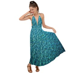 Turquoise Blue Ocean Backless Maxi Beach Dress