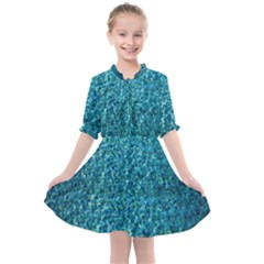 Turquoise Blue Ocean Kids  All Frills Chiffon Dress