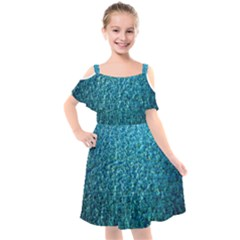 Turquoise Blue Ocean Kids  Cut Out Shoulders Chiffon Dress
