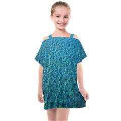 Turquoise Blue Ocean Kids  One Piece Chiffon Dress