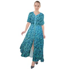 Turquoise Blue Ocean Waist Tie Boho Maxi Dress