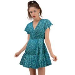 Turquoise Blue Ocean Flutter Sleeve Wrap Dress