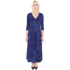 Blue Grunge Quarter Sleeve Wrap Maxi Dress by retrotoomoderndesigns