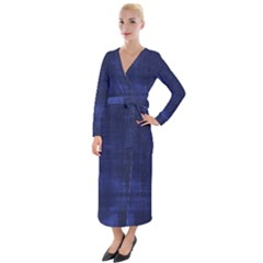 Blue Grunge Velvet Maxi Wrap Dress