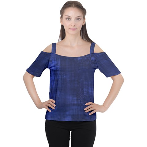 Blue Grunge Cutout Shoulder Tee by retrotoomoderndesigns