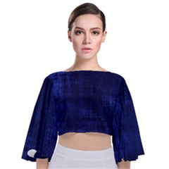 Blue Grunge Tie Back Butterfly Sleeve Chiffon Top