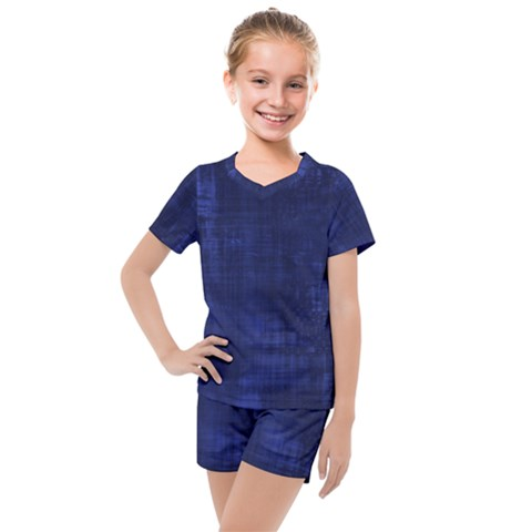 Blue Grunge Kids  Mesh Tee And Shorts Set by retrotoomoderndesigns